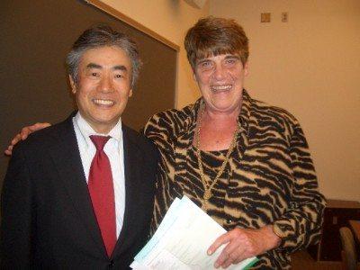 Mr. Shindo and Mayor Hutton